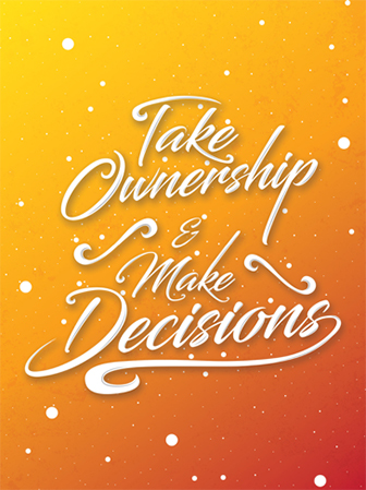 Illustrated values poster: Take ownership & make decisions