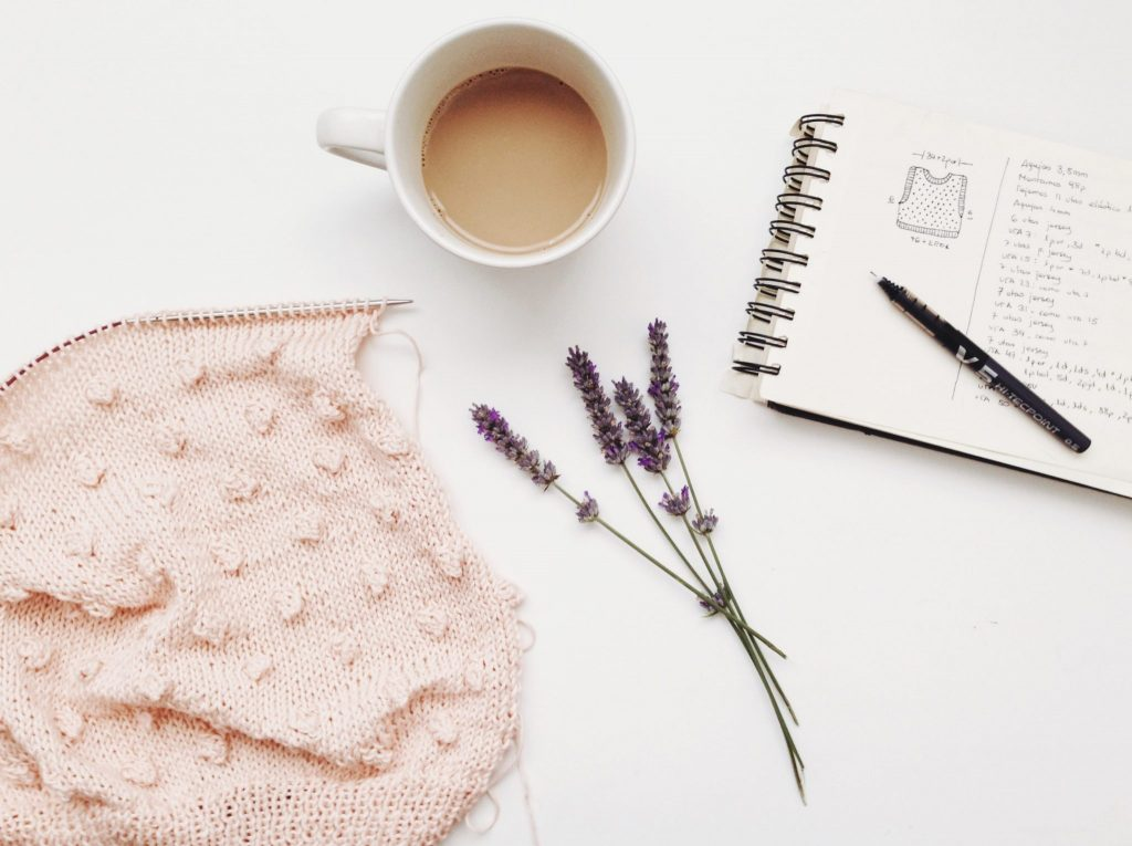 Knitting-Lavender-Coffee-Notebook-Design-Tumblr-White Table-Content Marketing-Stock Photo-Small Business-article