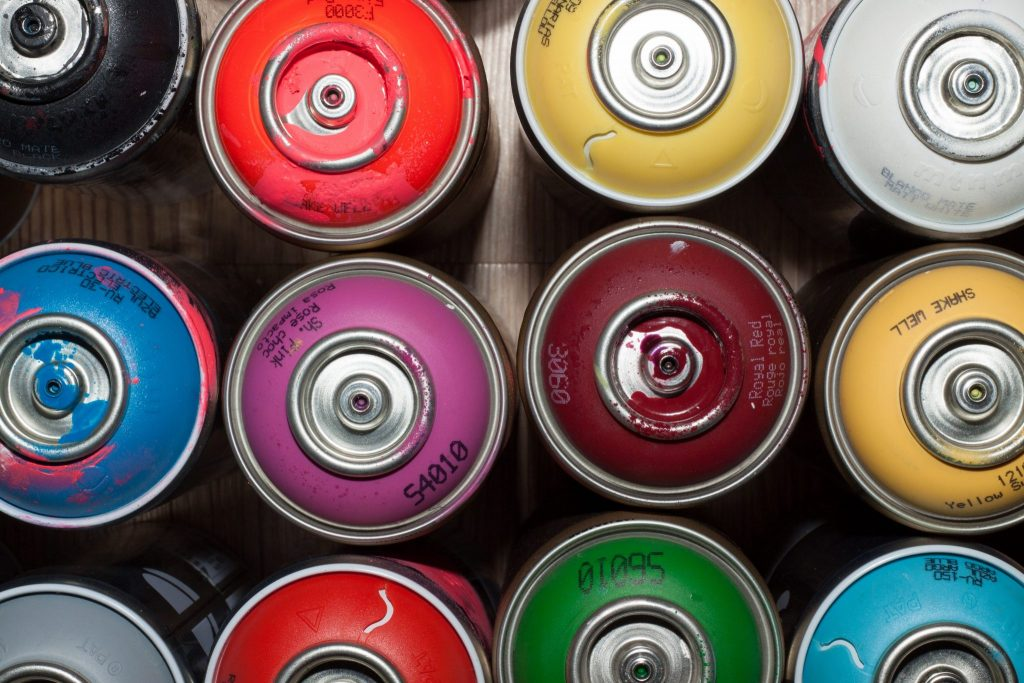 Colorful Spray paint Cans