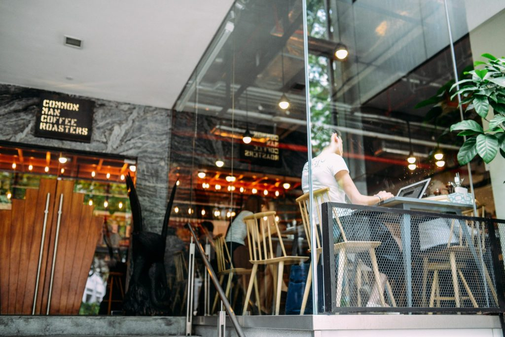 Common Max Coffee Roasters-Coffee Shop-Cafe-outside-glass walls-low angle-Stock Photo-Customer Referals-article