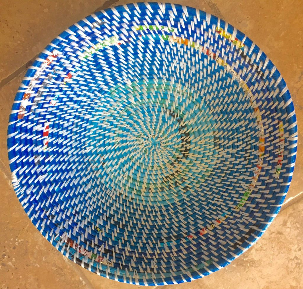 Chibote Women-Hand woven basket-recycled plastic bags-colorful basket-small business-inspirational-logojoy-non-profit compant