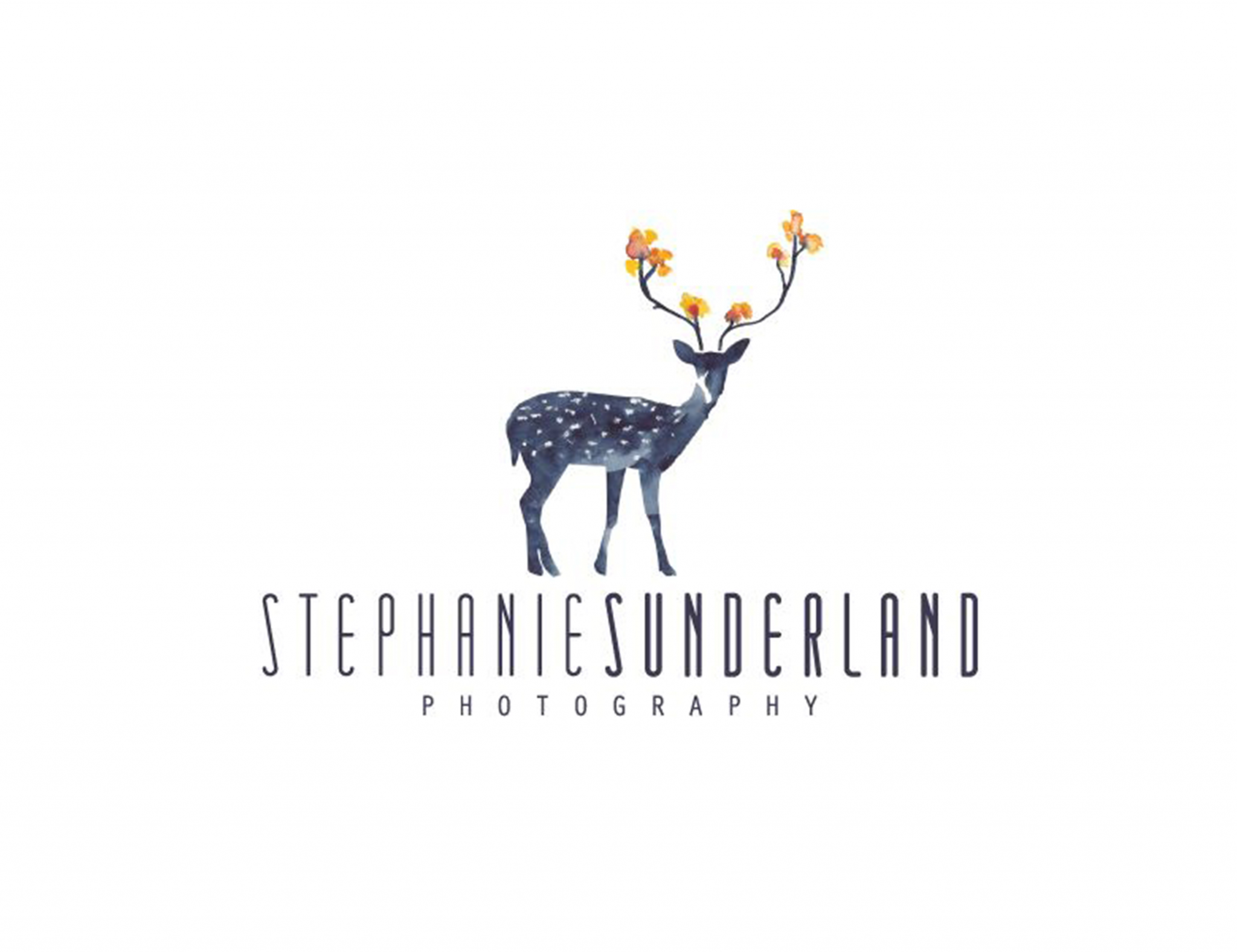 Stephanie Sunderland Logo Photography Logodear Flowers Watercolor Graphic White Background