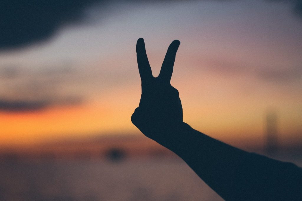 Photo of two fingers peace sign