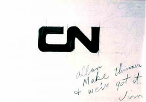 CN logo sketch on napkin