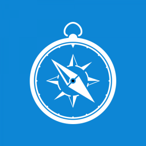 Blue and white logo design compass