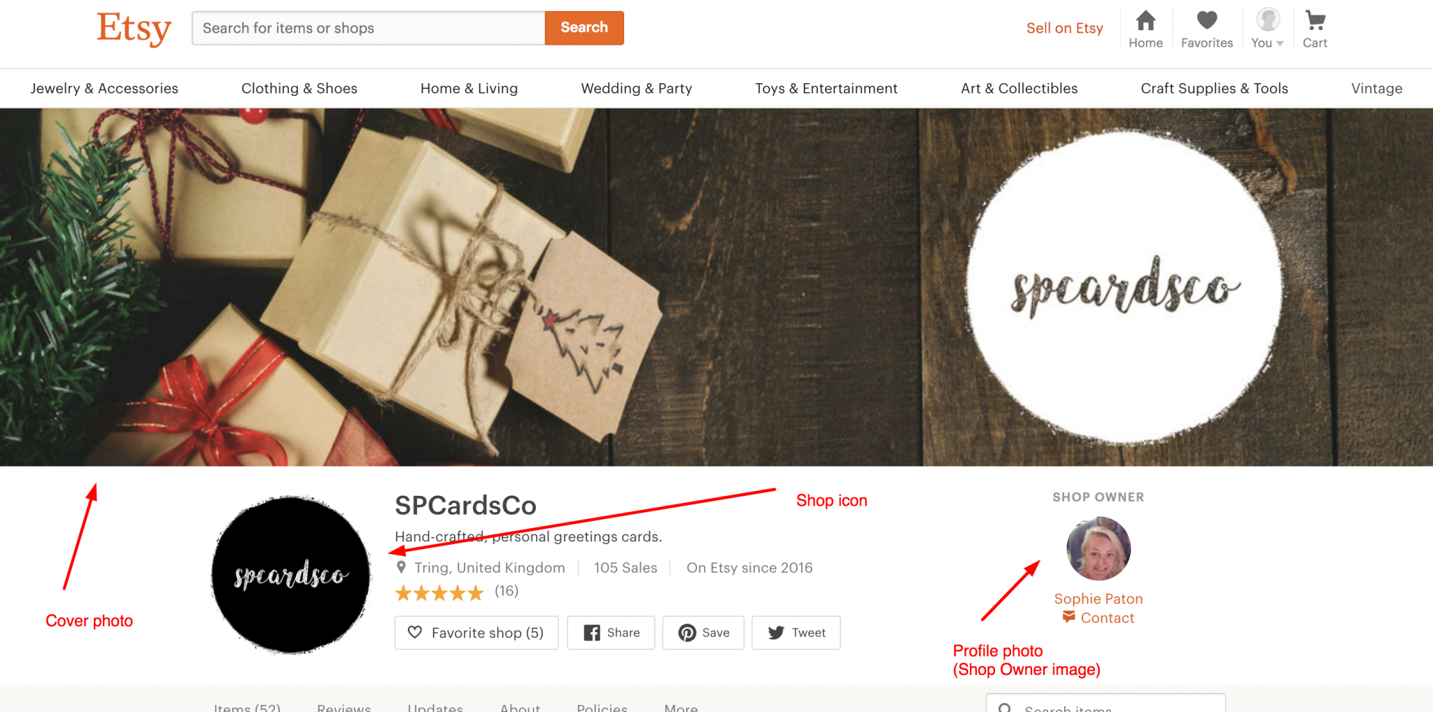 Etsy cover photo and shop icon