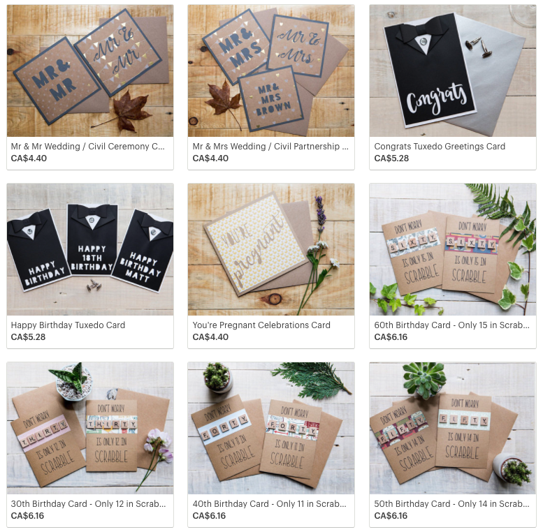 Examples of products sold on Etsy