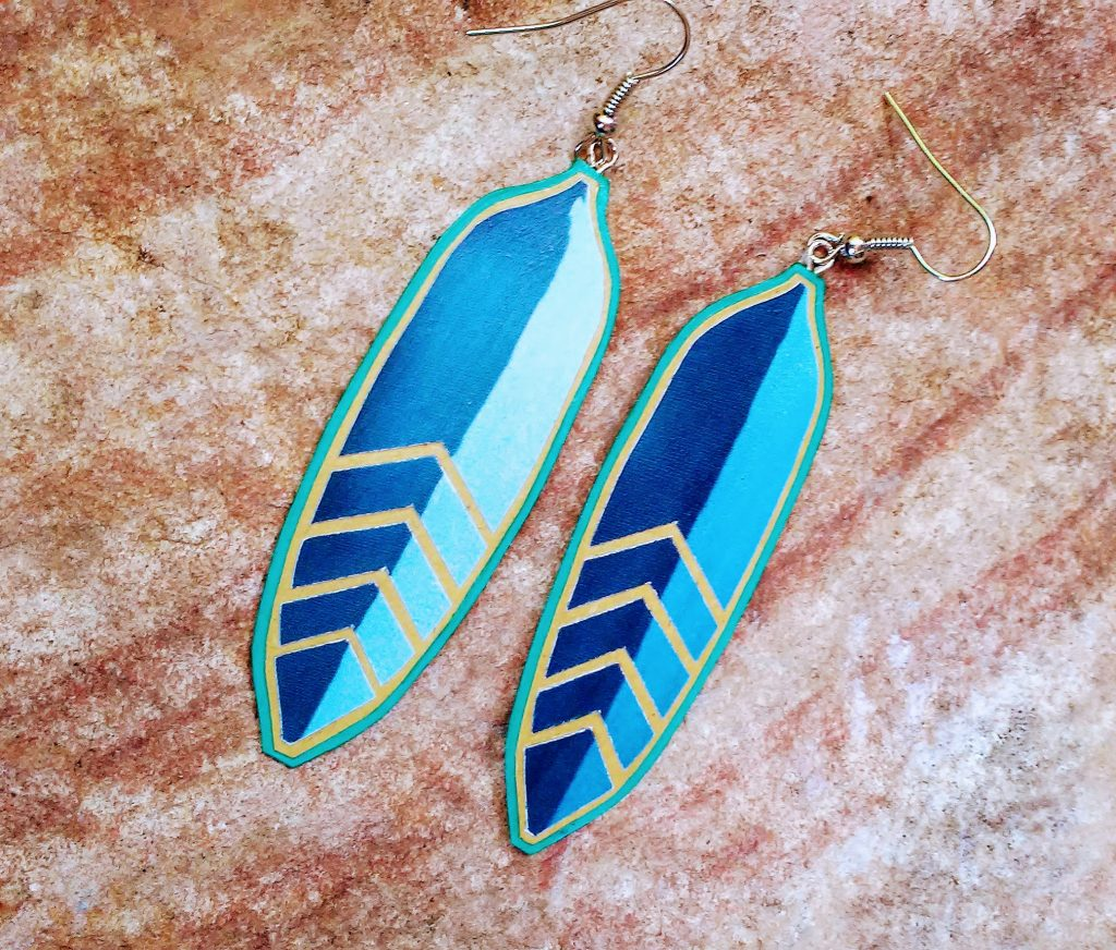 Feather earrings sold from online Etsy shop
