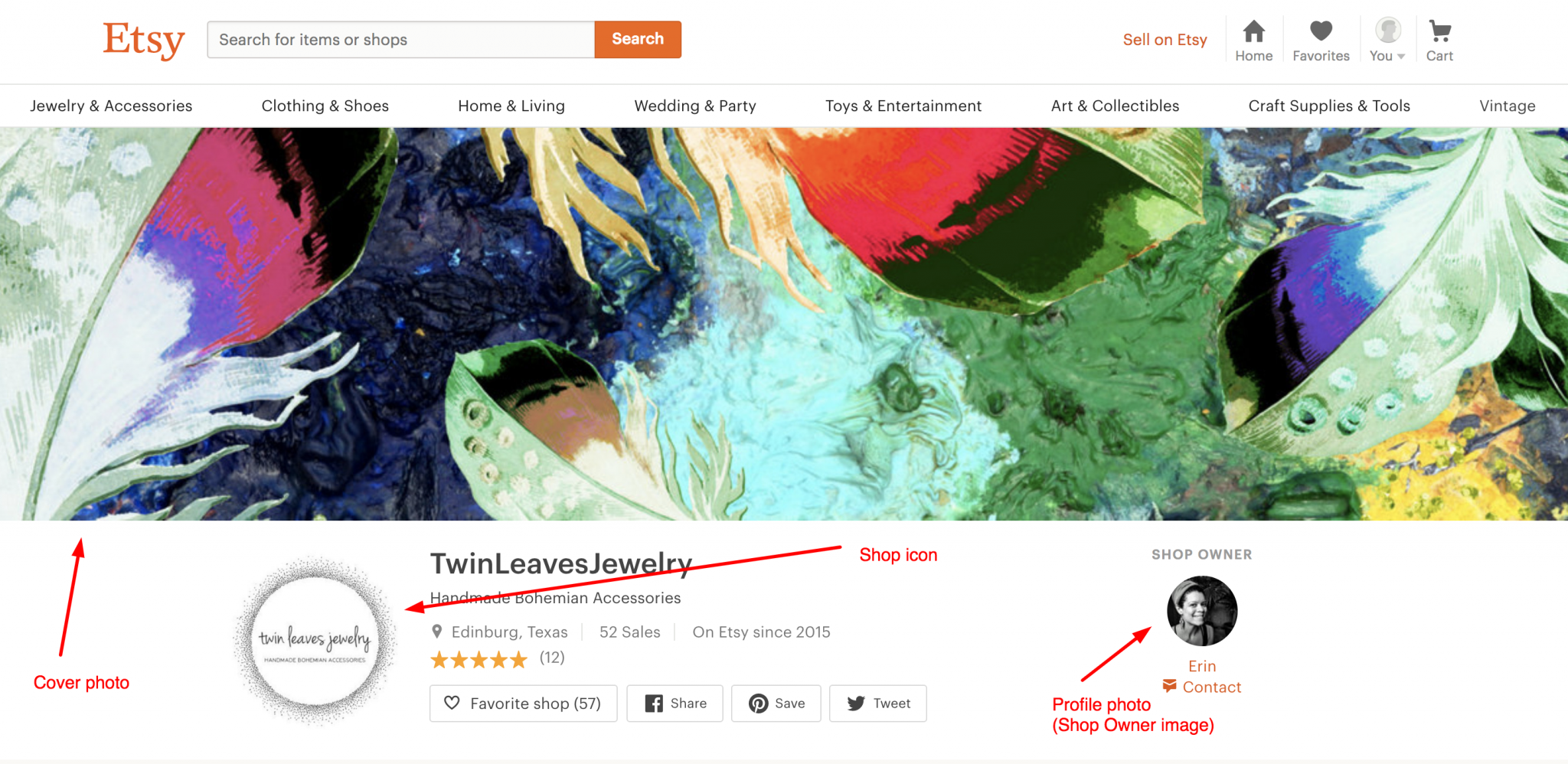 How to design an Etsy cover photo and shop icon