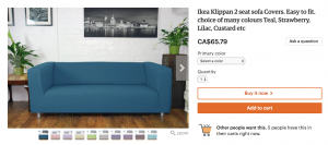 Ikea sofa cover - ecommerce business idea