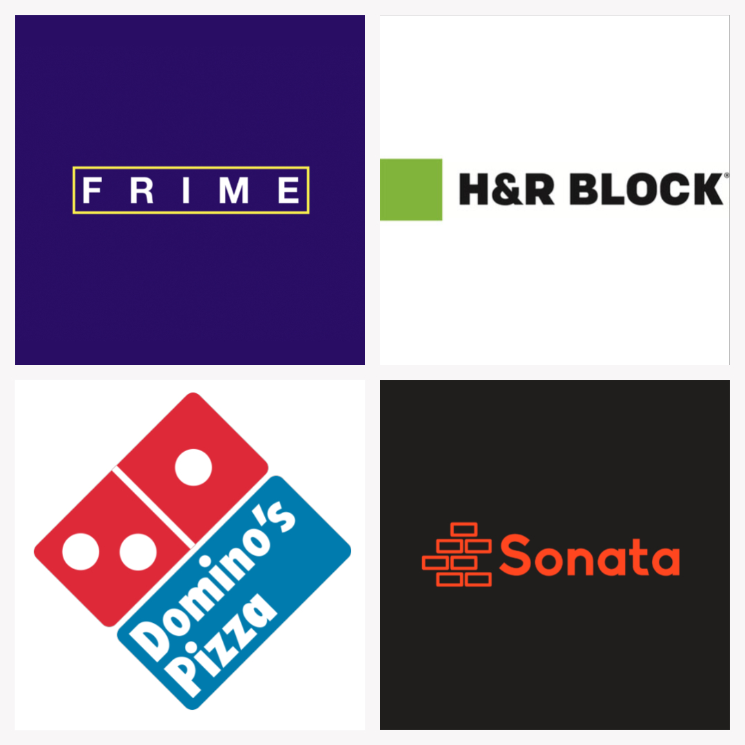 Example of four logos with square design, including H & R Block and Domino's Pizza.