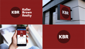 Keller Brown Realty circle logo mockups.