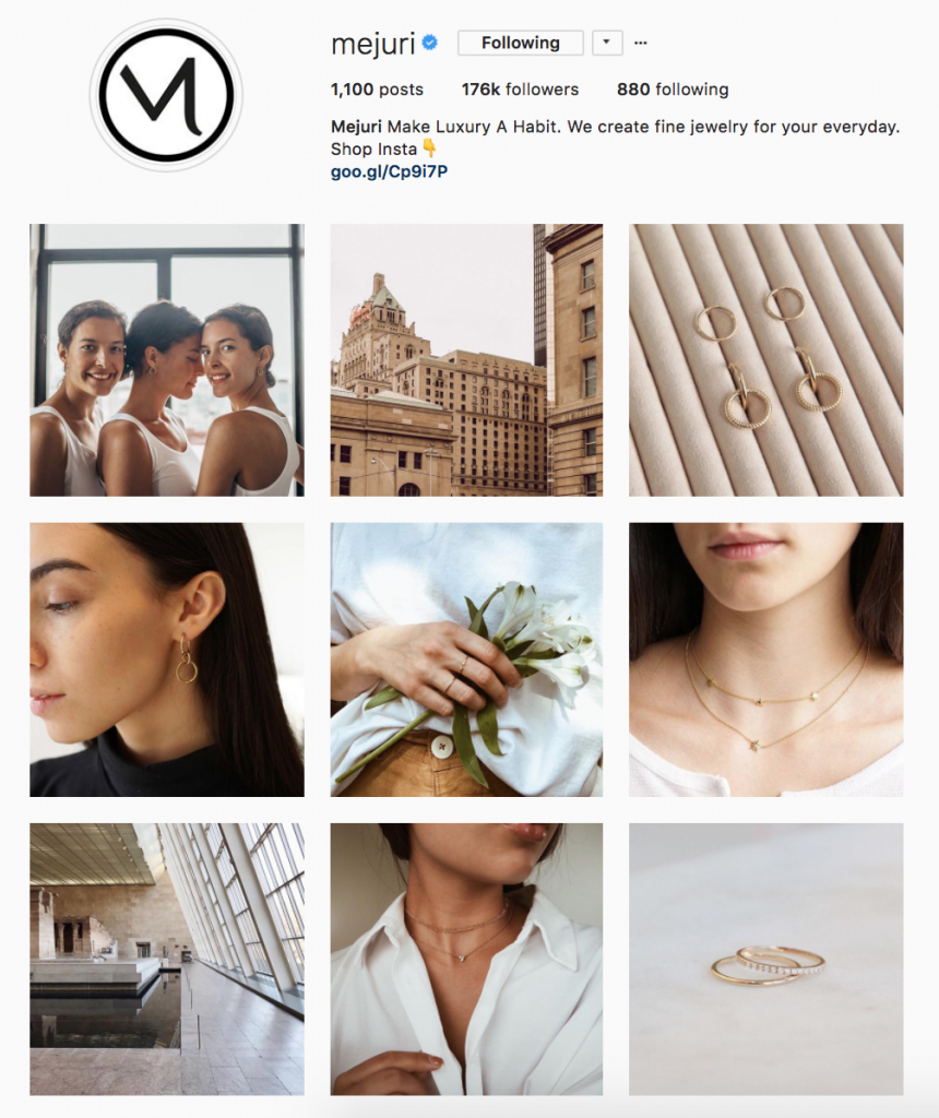 mejuri social media branding on instagram