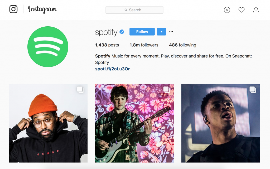 Spotify social media branding on Instagram
