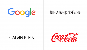 Famous wordmark logos: Google, The New York Times, Calvin Klein, and Coca-Cola.