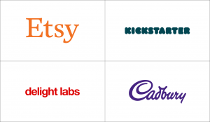 Wordmark logos with distinct colors: Etsy, Kickstarter, Delight Labs, and Cadbury.