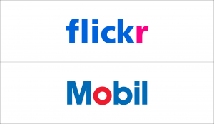 Wordmark logos with one colored letter: Flickr and Mobil.