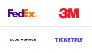 Wordmark logos and kerning examples.