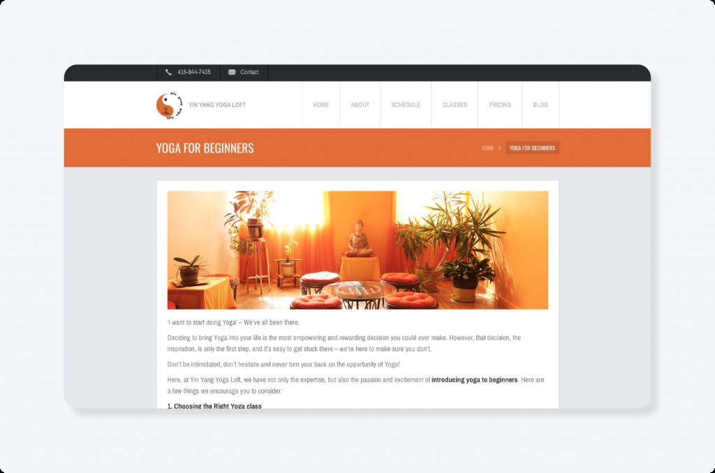 Yoga logo on a website