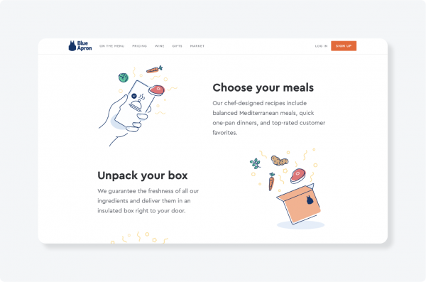 Blue Apron website logo and homepage