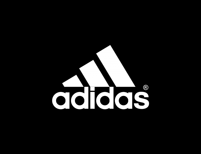 White Adidas logo on black background. Example of triangle logo shape.