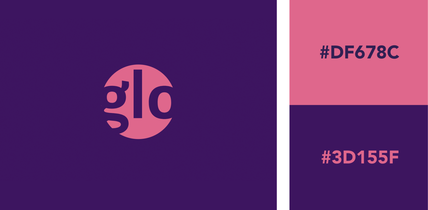 Pink and purple logo color combination