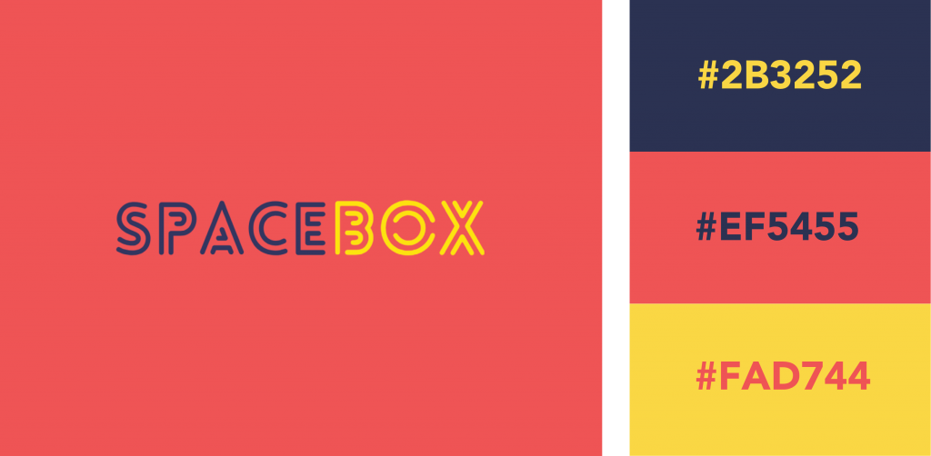 Red, Navy, and Yellow Logo Color Combination