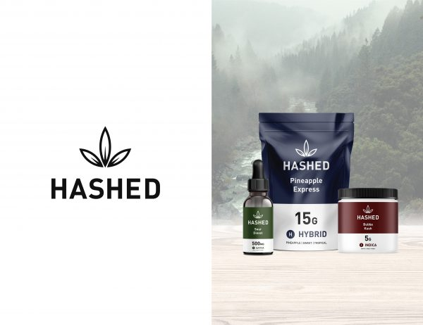 Hashed cannabis logo and branding