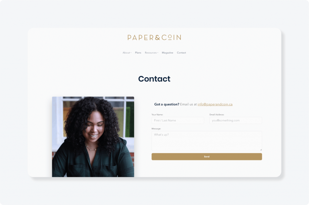 Paper & Coin contact page example