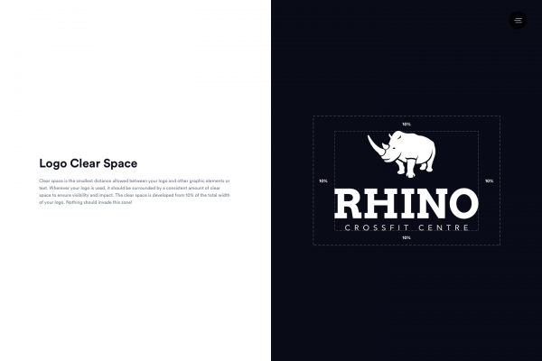 Brand guidelines for Rhino Crossfit. Logo spacing rules.