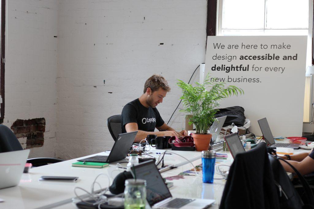 Dawson from Logojoy in coworking space