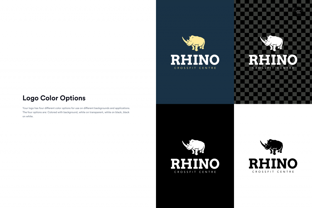 Brand guidelines for Rhino Crossfit. Logo color options.