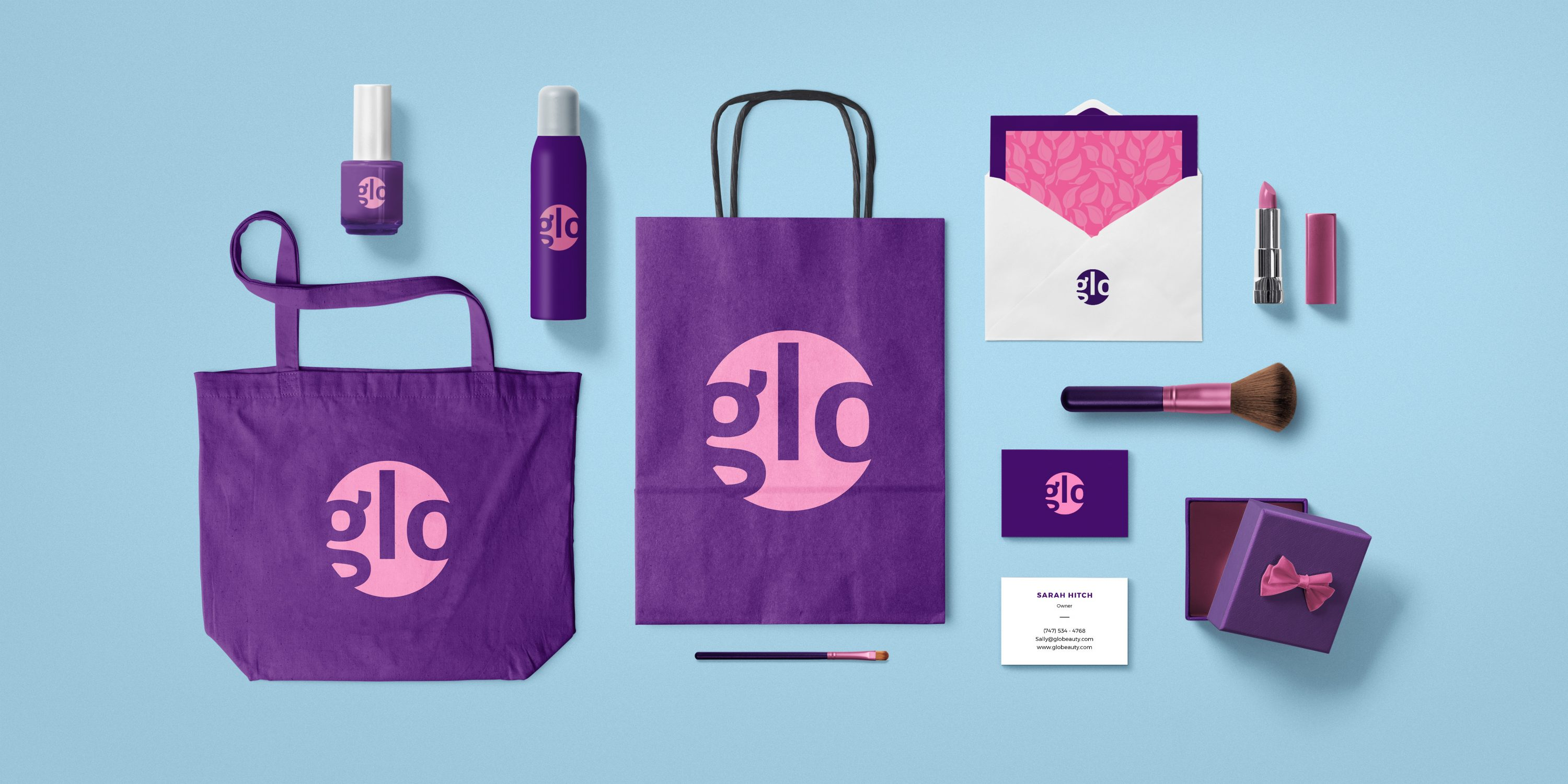 Branded assets for a company named Glo