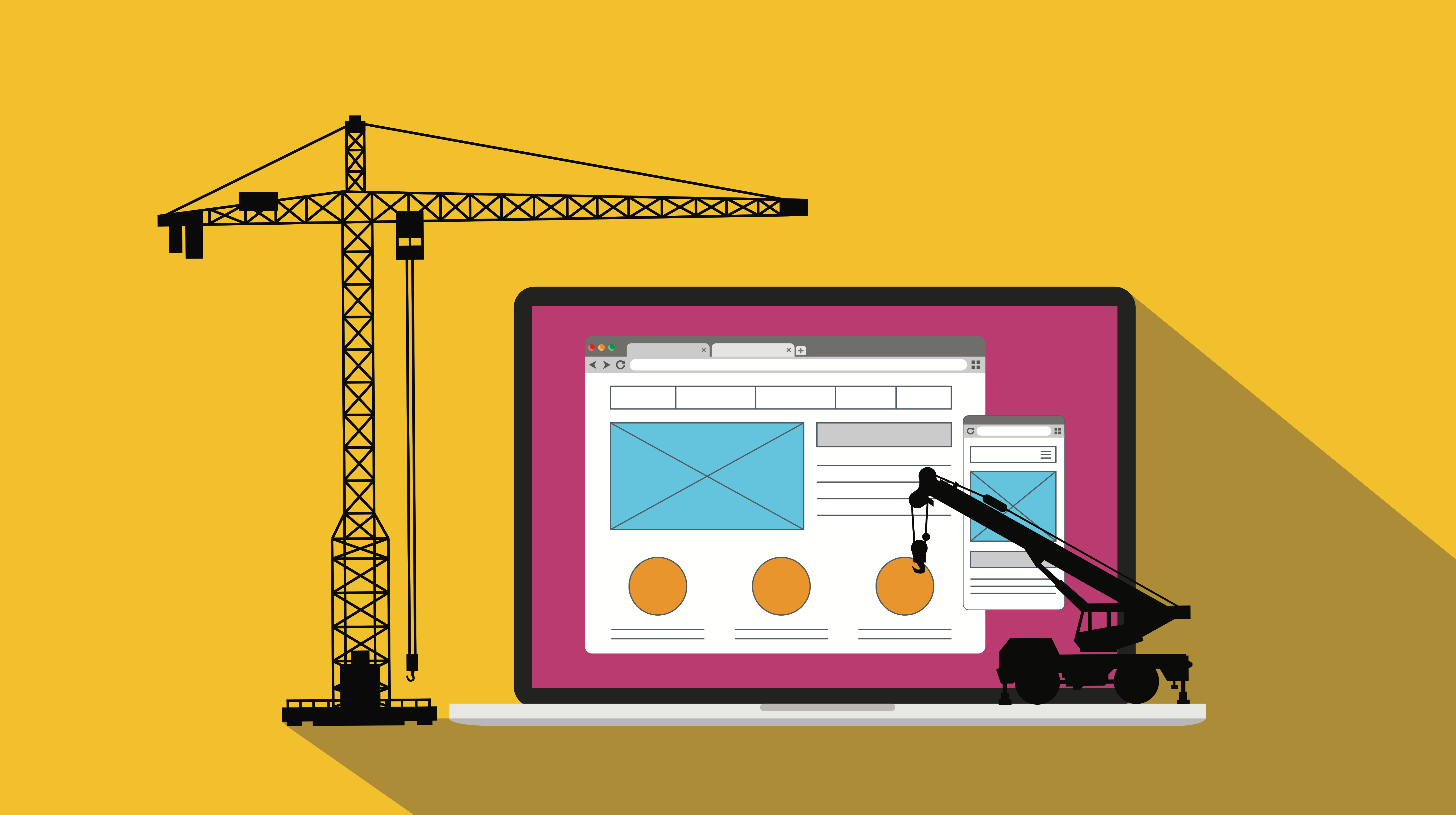 Illustration website on laptop with construction machinery
