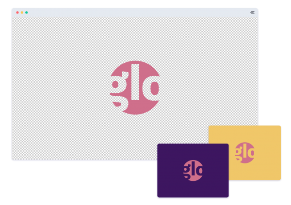 Logo with a transparent background versus a colored background