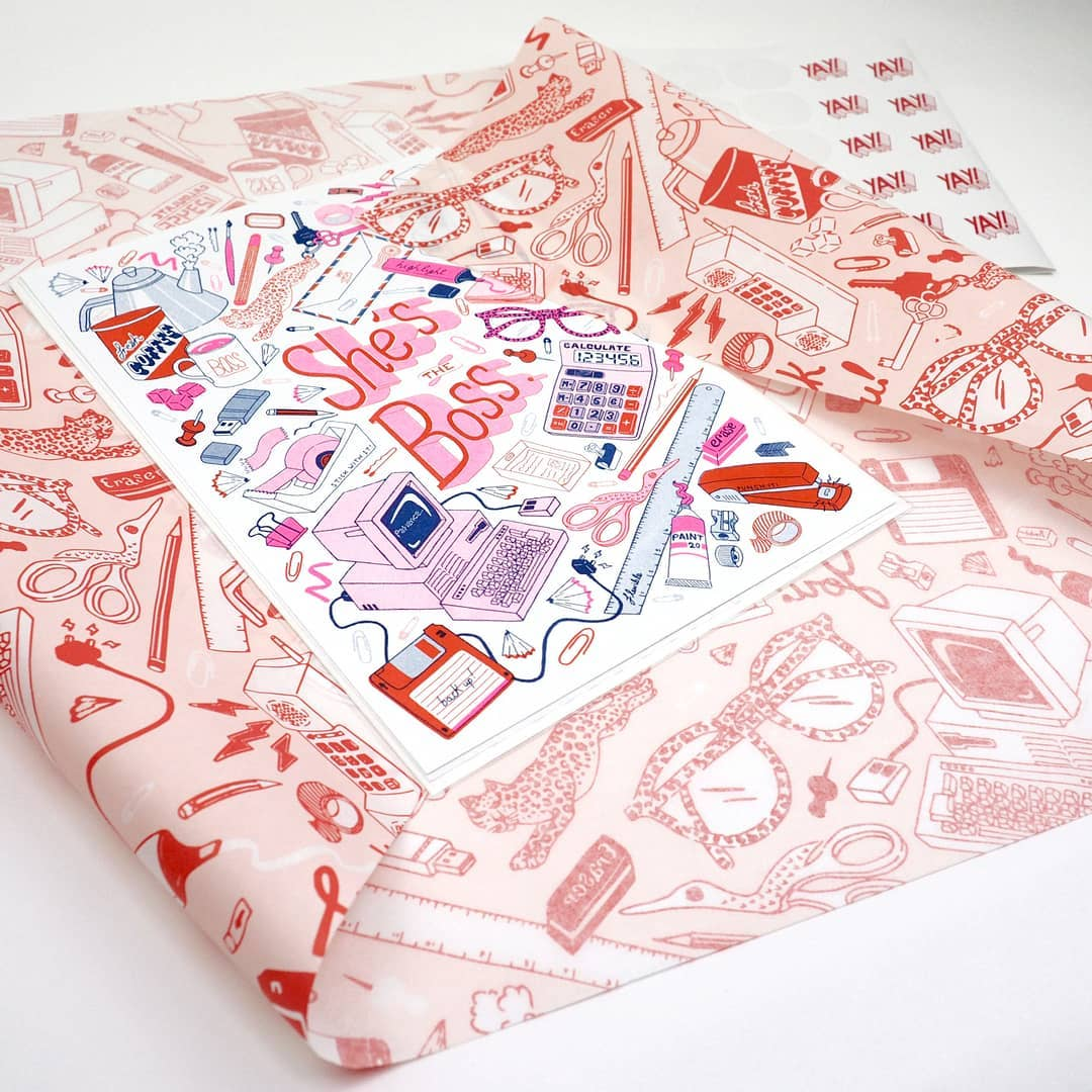 Custom illustrations on wrapping paper
