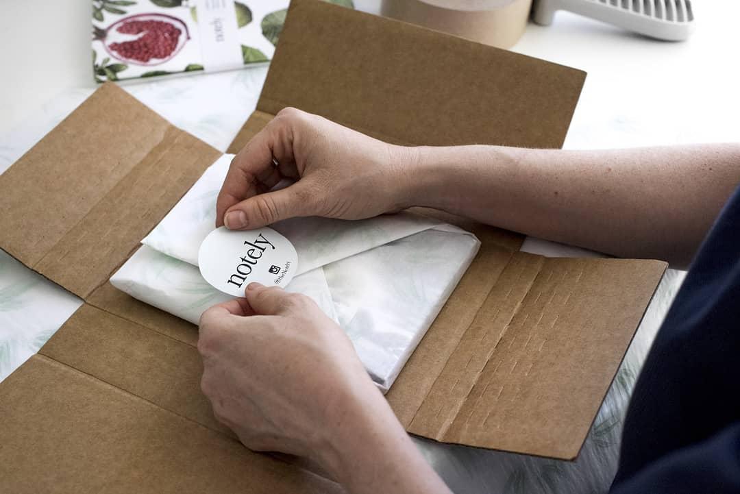 Custom sticker for branded package