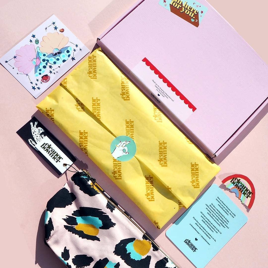 Colorful packaging design flat lay