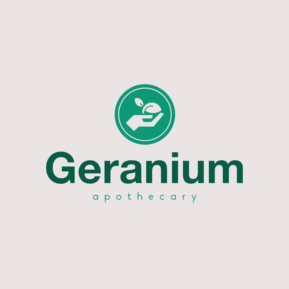 Geranium logo with symbol container
