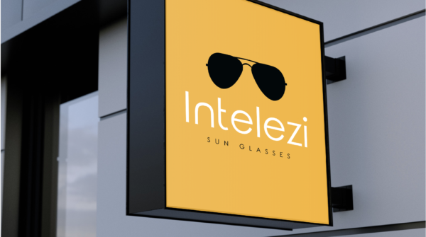 Sunglass logo printed on a sign