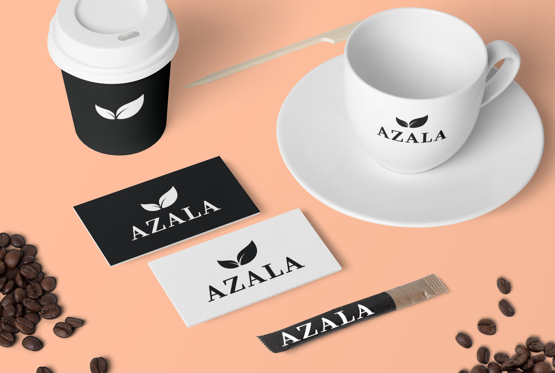 Logo printed on coffee cups and business cards