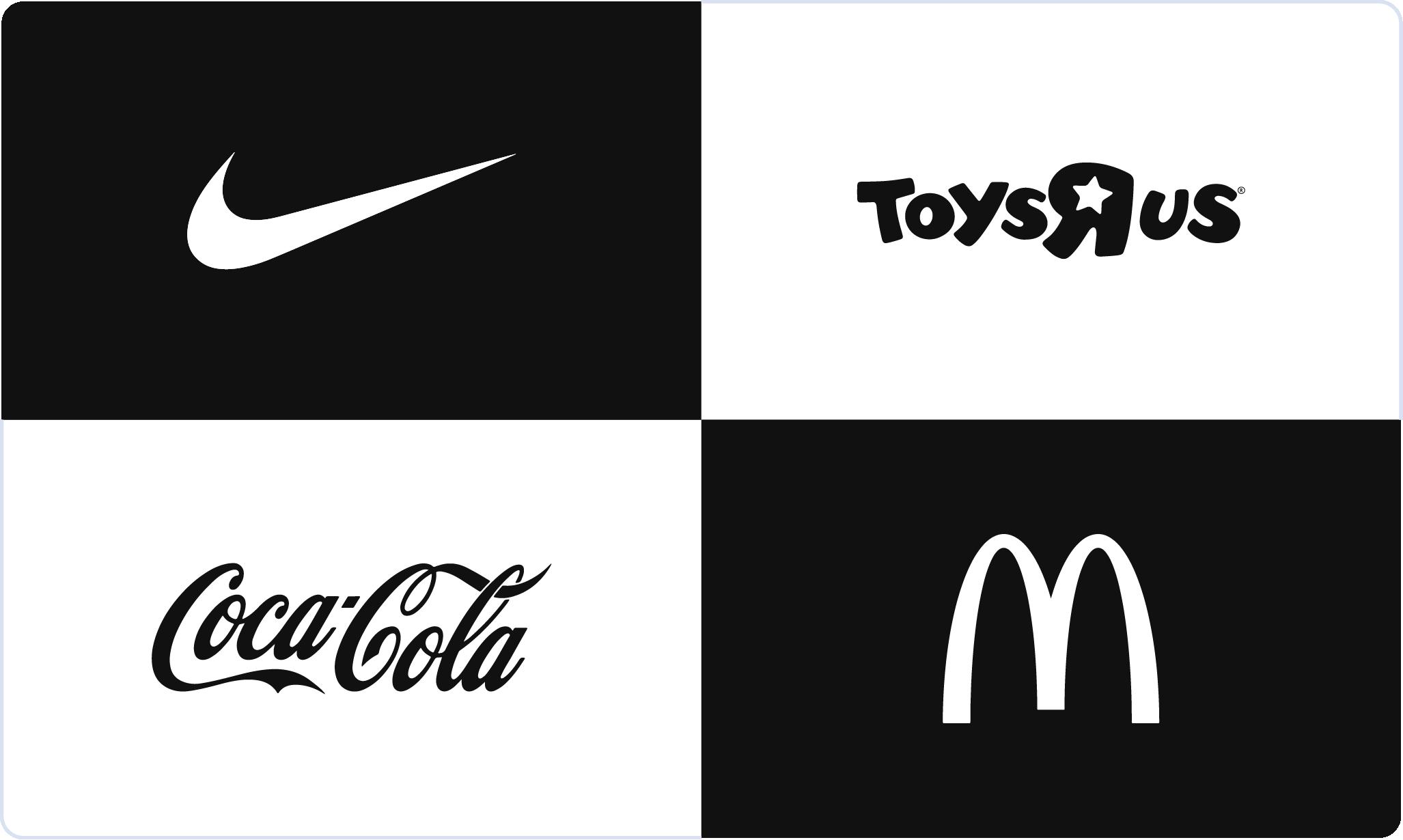 Iconic logos: Nike, Toys R Us, Coca-Cola, McDonalds
