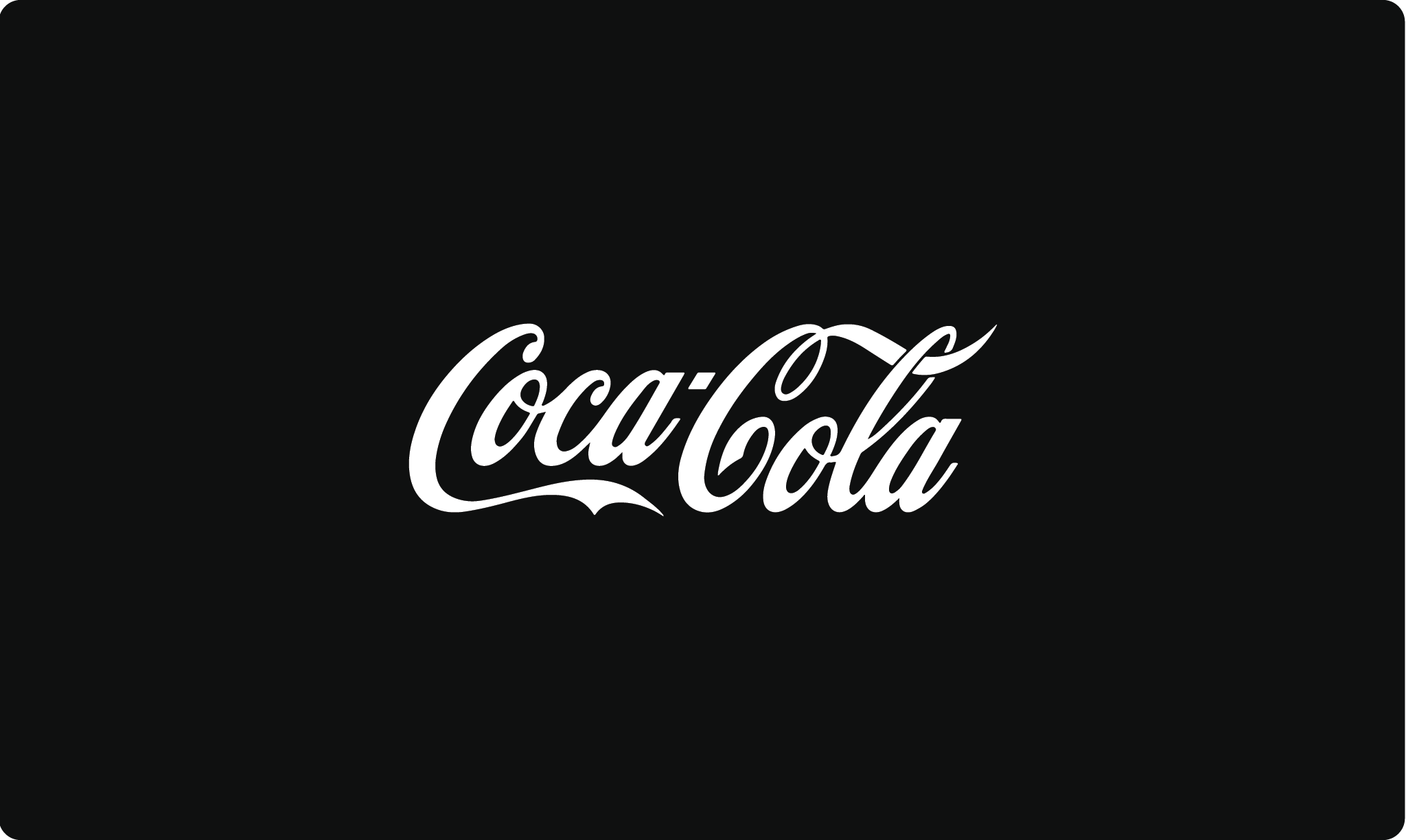The iconic Coca-Cola logo in black and white