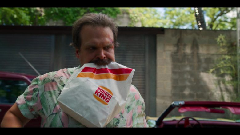 Hopper Stranger Things holding Burger King bag