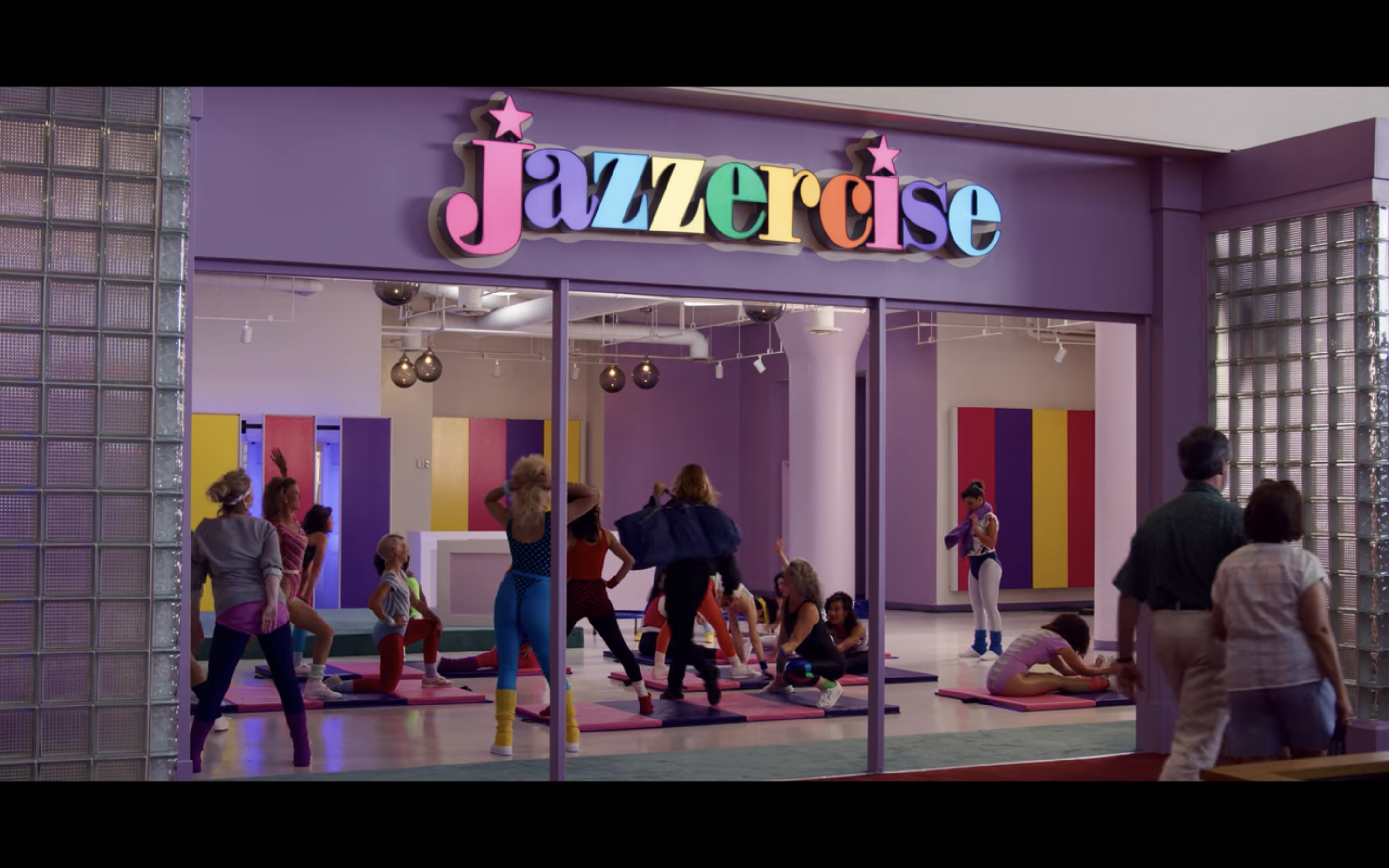 Jazzercise logo in Stranger Things mall
