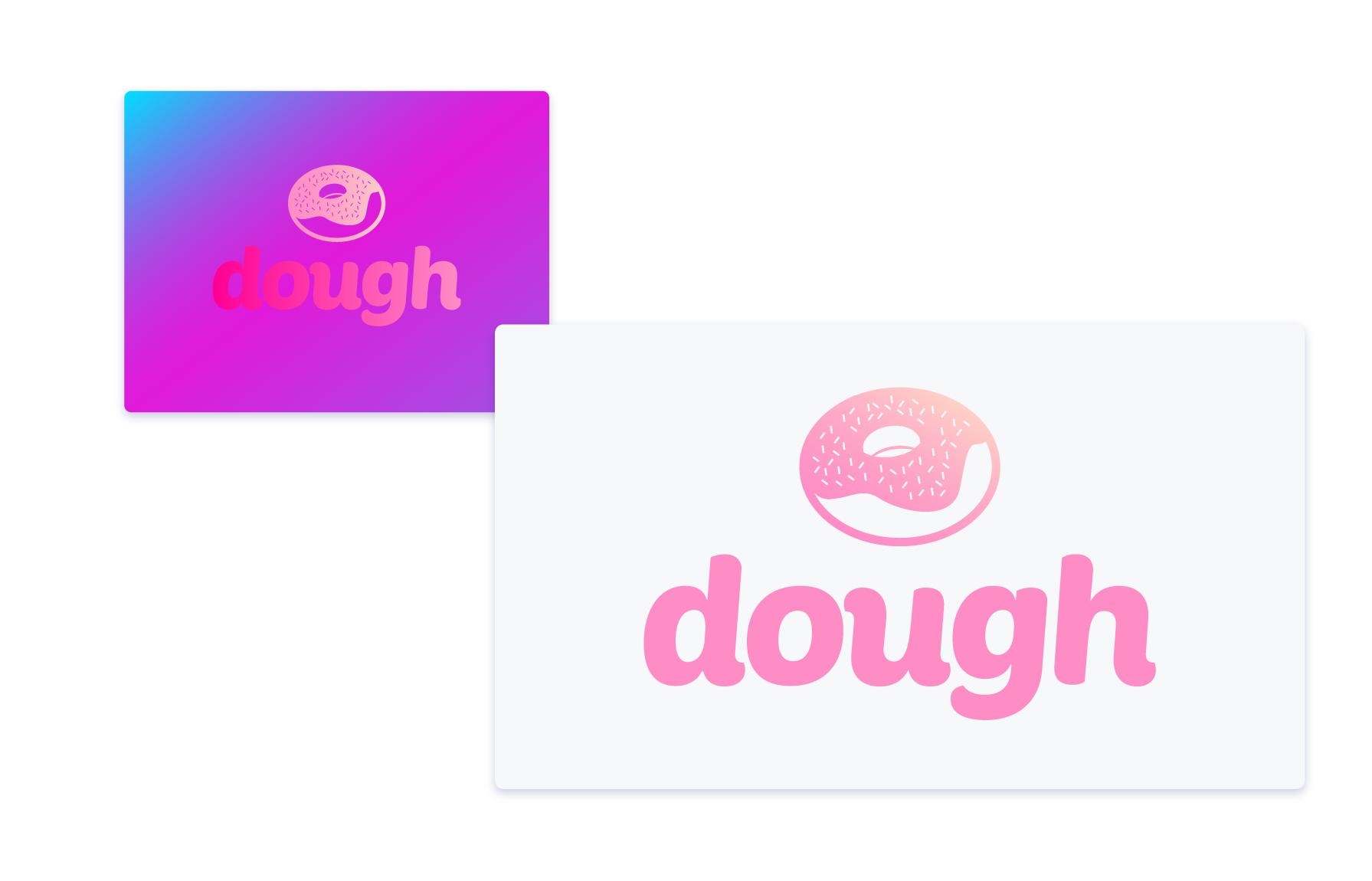 Pink gradient design for a company called dough