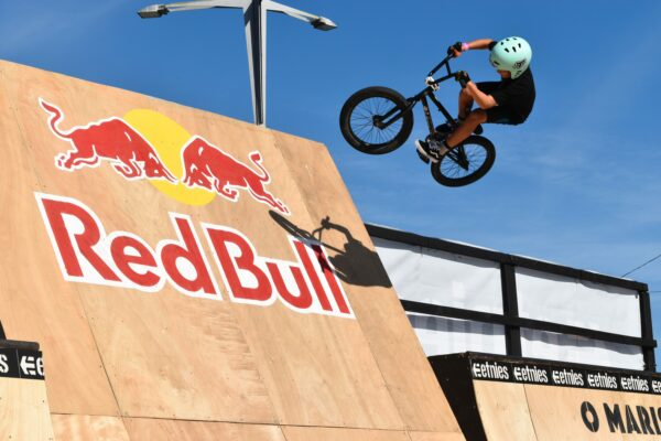 biker on red bull ramp
