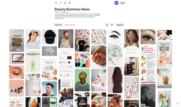 beauty business pinterest board