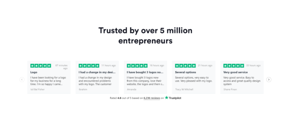 customer testimonials on a homepage