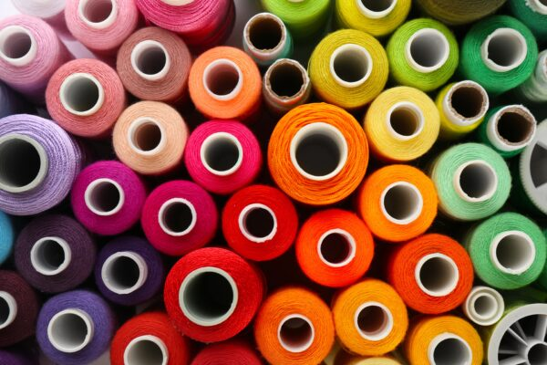 rolls of colored thread